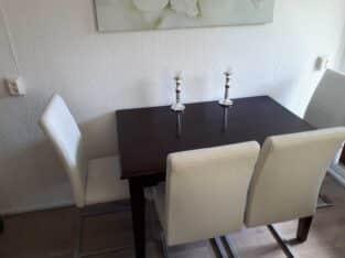 prachtige eettafel met 4 chique stoelen (gebruikssporen)